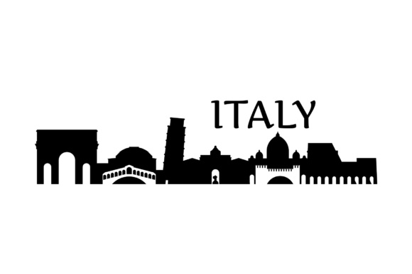 Download Free Italy Landmarks Skyline Graphic By Studio 26 Design Co for Cricut Explore, Silhouette and other cutting machines.