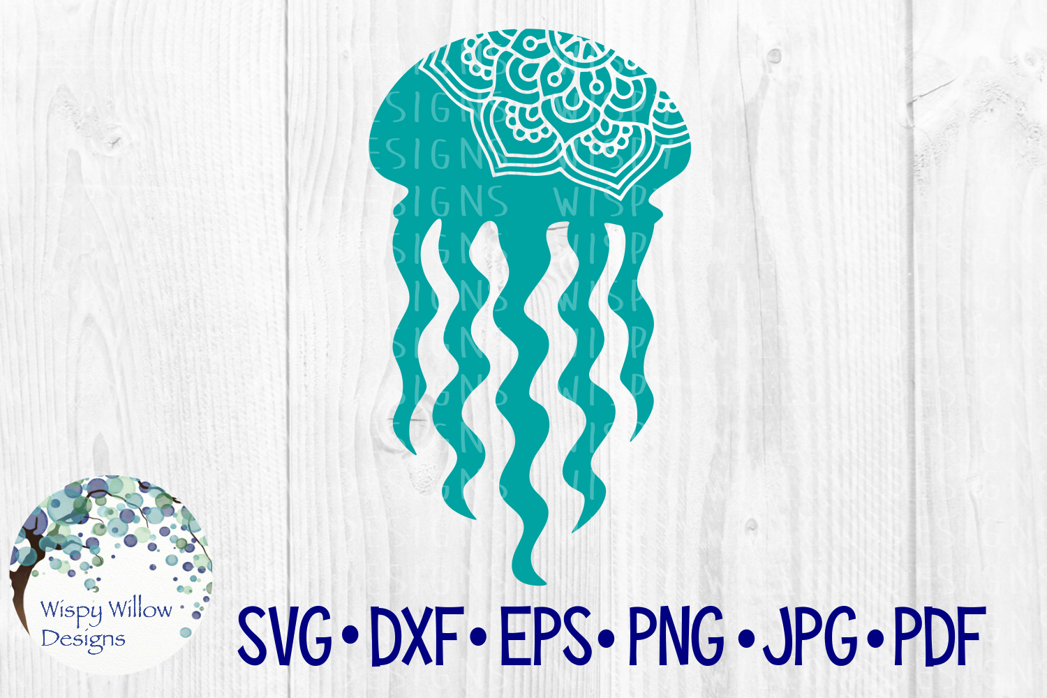 Download Free Jellyfish Mandala Graphic By Wispywillowdesigns Creative Fabrica for Cricut Explore, Silhouette and other cutting machines.