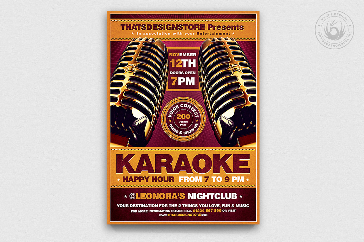 Download Free Karaoke Flyer Template V2 Graphic By Thatsdesignstore Creative for Cricut Explore, Silhouette and other cutting machines.