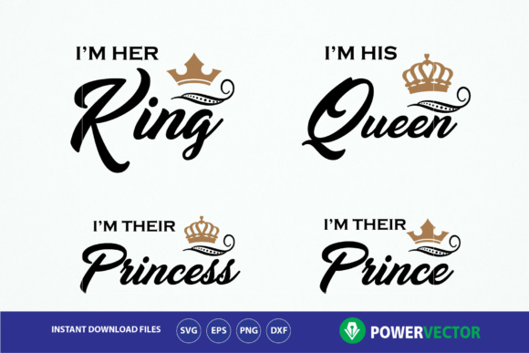 Download Free King Queen Princess Prince T Shirts Graphic By Powervector for Cricut Explore, Silhouette and other cutting machines.