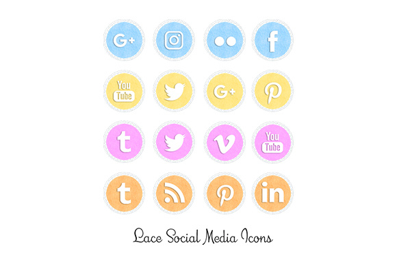 Print on Demand: Lace Social Media Icons Graphic Icons By Anjana Designs