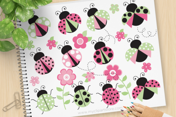 Print on Demand: Ladybugs Pink Green Clipart Graphic Illustrations By MyClipArtStore