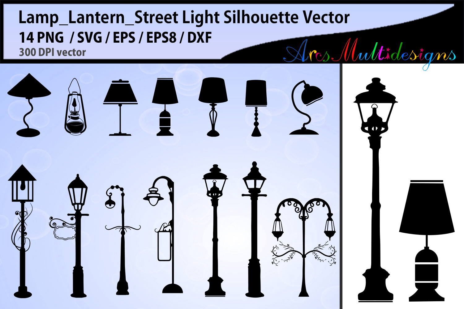 Download Free Lamp Street Light Silhouette Svg Graphic By Arcs Multidesigns for Cricut Explore, Silhouette and other cutting machines.