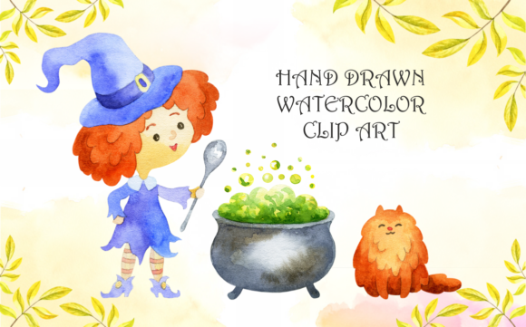 Print on Demand: Little Witches. Halloween Watercolor Clip Arts and Seamless Patterns Graphic Illustrations By Olga Belova - Image 2
