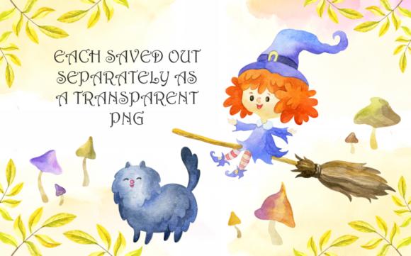 Print on Demand: Little Witches. Halloween Watercolor Clip Arts and Seamless Patterns Graphic Illustrations By Olga Belova - Image 4