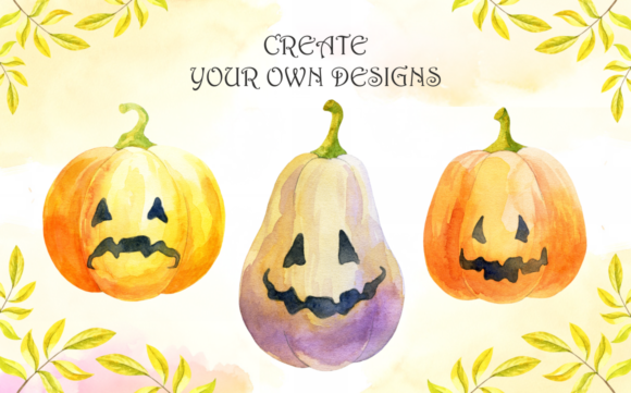 Print on Demand: Little Witches. Halloween Watercolor Clip Arts and Seamless Patterns Graphic Illustrations By Olga Belova - Image 5