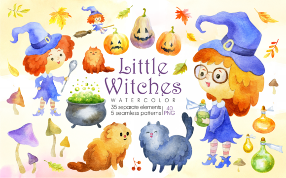 Print on Demand: Little Witches. Halloween Watercolor Clip Arts and Seamless Patterns Graphic Illustrations By Olga Belova