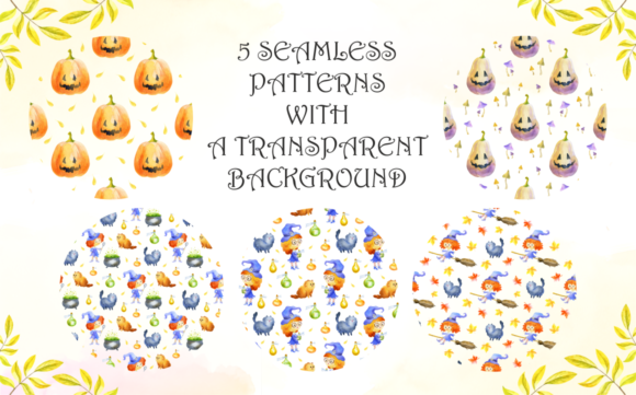 Print on Demand: Little Witches. Halloween Watercolor Clip Arts and Seamless Patterns Graphic Illustrations By Olga Belova - Image 7