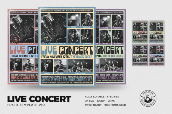 Live Concert Flyer Template V10 Graphic Print Templates By ThatsDesignStore