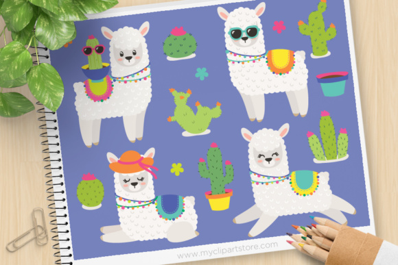 Print on Demand: Llama Cactus Animal Clipart Graphic Illustrations By MyClipArtStore