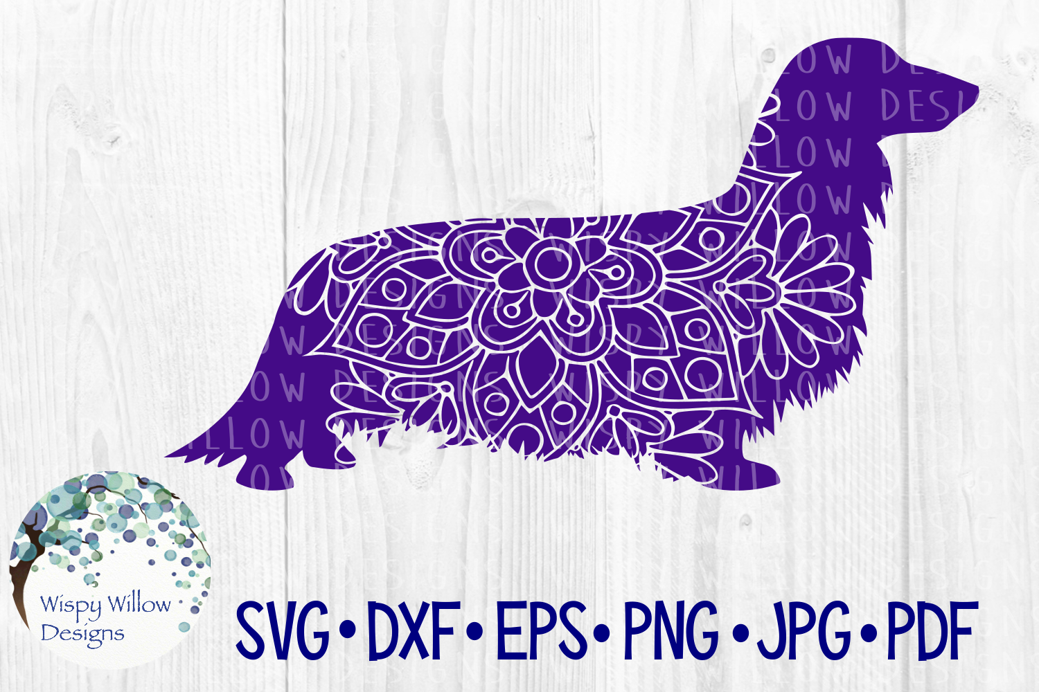 Download Free Long Hair Dachshund Dog Graphic By Wispywillowdesigns Creative for Cricut Explore, Silhouette and other cutting machines.