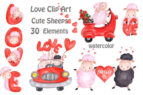 Love, Cute Sheep Clipart Graphic Illustrations By vivastarkids
