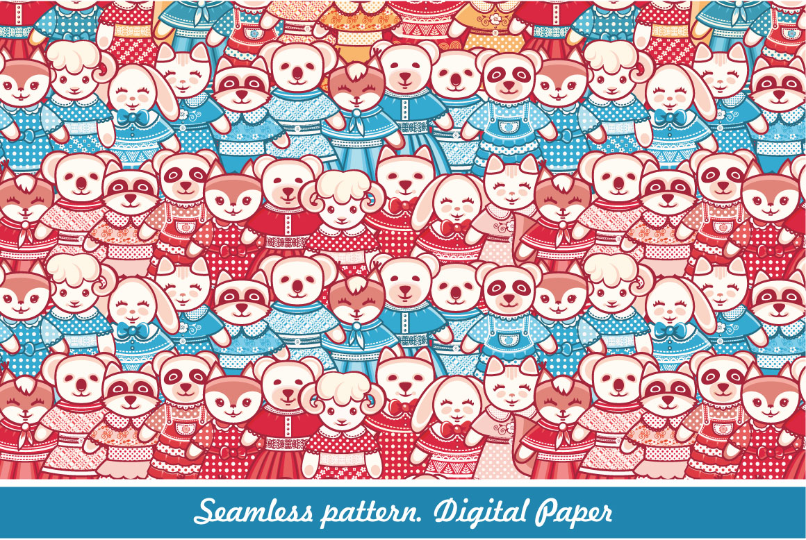 Download Free Lovely Animals Seamless Pattern Digital Scrapbook Paper Graphic for Cricut Explore, Silhouette and other cutting machines.