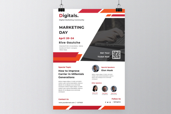Marketing Day Poster Flyer Graphic Print Templates By TMint