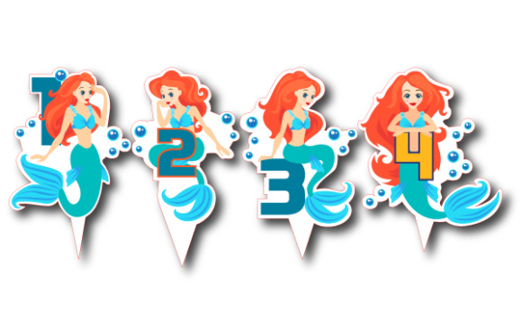 Download Free Mermaid Cake Toppers Age 1 4 Svg Cut File By Creative Fabrica for Cricut Explore, Silhouette and other cutting machines.