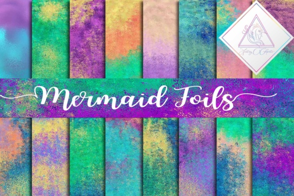 Print on Demand: Mermaid Foils Digital Paper Graphic Textures By fantasycliparts - Image 1