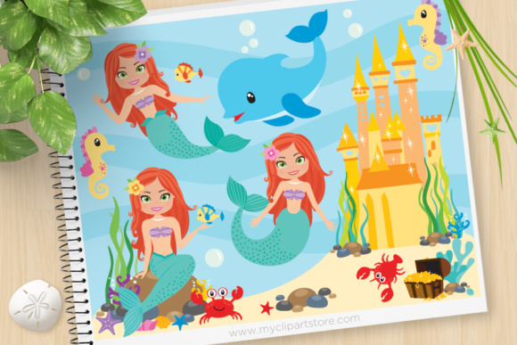 Print on Demand: Mermaid Princess Clipart Graphic Illustrations By MyClipArtStore