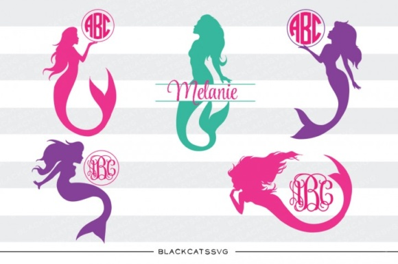 Download Free Mermaids Monogram Graphic By Blackcatsmedia Creative Fabrica for Cricut Explore, Silhouette and other cutting machines.