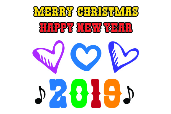 Download Free Merry Christmas Happy New Year 2019 15 Elements Graphic By for Cricut Explore, Silhouette and other cutting machines.