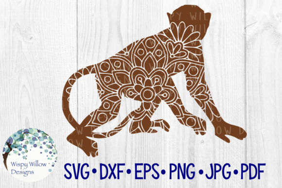 Download Free Monkey Mandala Graphic By Wispywillowdesigns Creative Fabrica for Cricut Explore, Silhouette and other cutting machines.