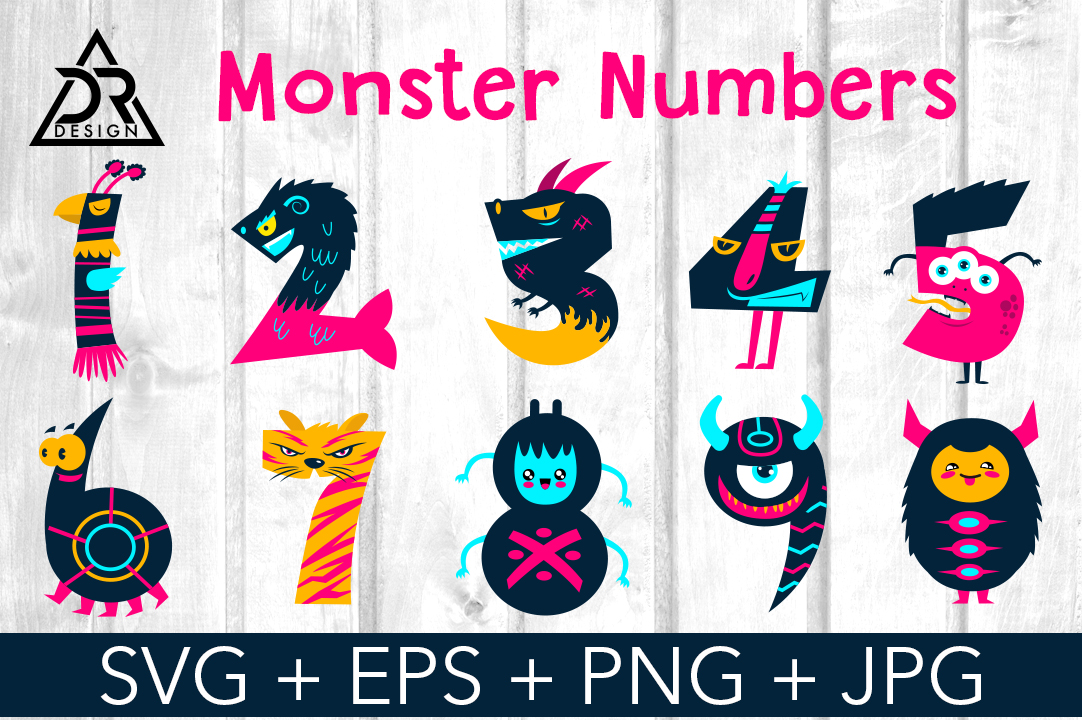 Download Free Monster Numbers Graphic By Davidrockdesign Creative Fabrica for Cricut Explore, Silhouette and other cutting machines.