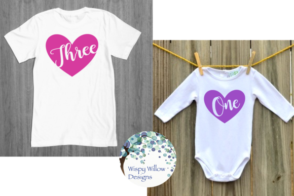 Download Free Monthly Hearts One Two Twelve Graphic By Wispywillowdesigns for Cricut Explore, Silhouette and other cutting machines.