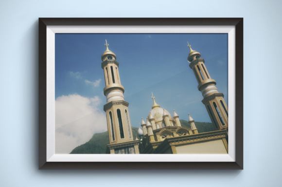 Mosque and Mountain Graphic Architecture By Kerupukart Production