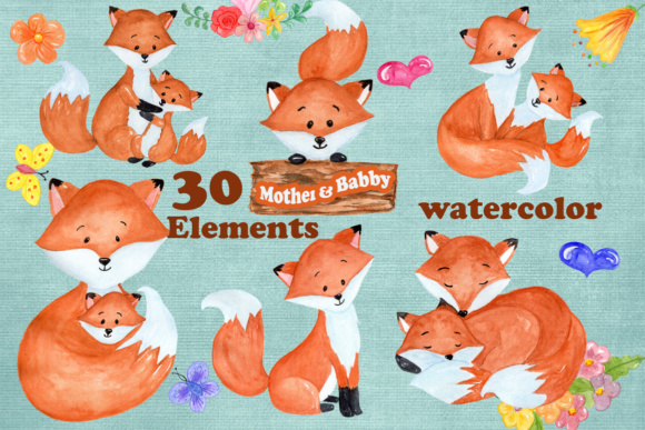 30 Mother & Baby Fox Clipart Designs Graphic Illustrations By vivastarkids