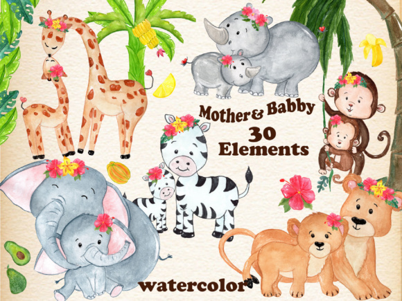 Mother and Baby, Safari Animals Graphic Illustrations By vivastarkids