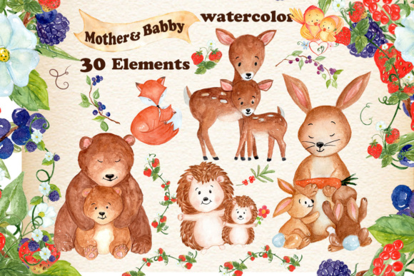 Mother and Baby Animals Clipart Gráfico Ilustraciones Por vivastarkids