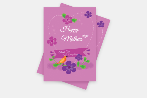 Mothers Day Greetings Card Graphic Print Templates By TMint