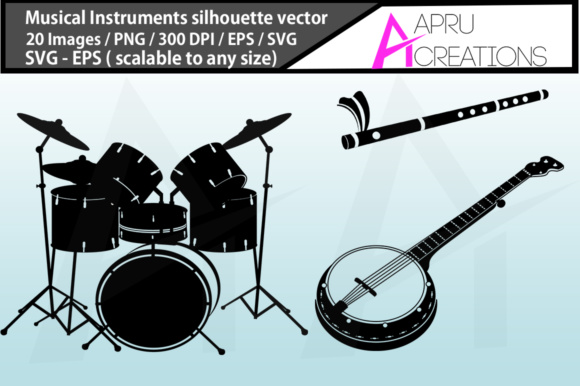 Musical Instruments Silhouette Graphic By aparnastjp Image 2
