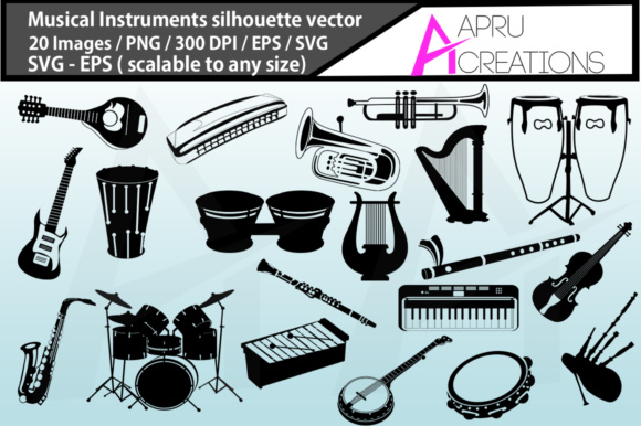 Print on Demand: Musical Instruments Silhouette Graphic Illustrations By aparnastjp