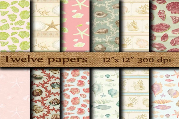 Nautical Digital Paper Graphic Backgrounds By twelvepapers