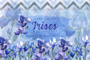 Nice Blue Irises PNG Watercolor Set Graphic By MyStocks