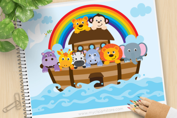 Print on Demand: Noahs Ark Clipart Graphic Illustrations By MyClipArtStore