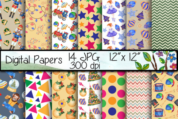 Nutcracker Digital Papers Graphic Backgrounds By vivastarkids