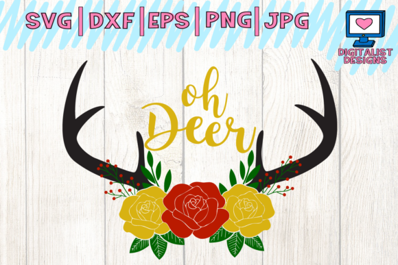 Download Free Oh Deer Deer Winter Antlers Graphic By Digitalistdesigns for Cricut Explore, Silhouette and other cutting machines.