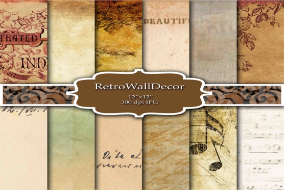 Print on Demand: Old Digital Paper Graphic Backgrounds By retrowalldecor