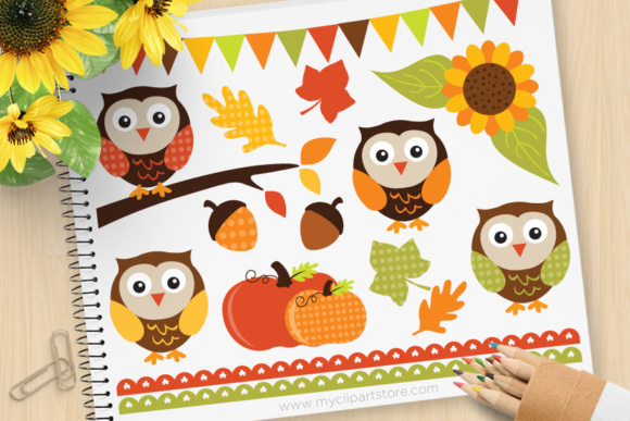Download Free Owls Fall Autumn Clipart Graphic By Myclipartstore Creative for Cricut Explore, Silhouette and other cutting machines.