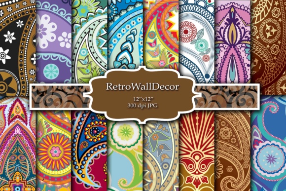 Print on Demand: Paisley Digital Papers Graphic Backgrounds By retrowalldecor