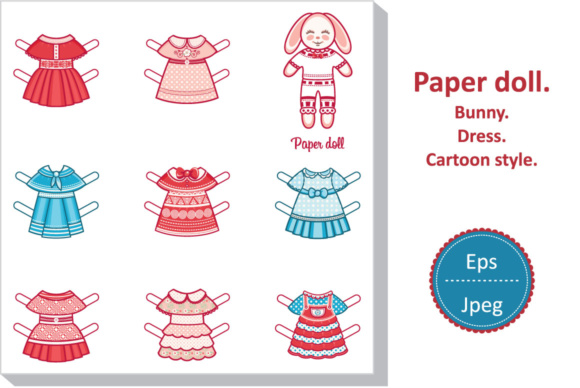 Download Free Paper Doll Cute Bunny Graphic By Zoyali Creative Fabrica for Cricut Explore, Silhouette and other cutting machines.