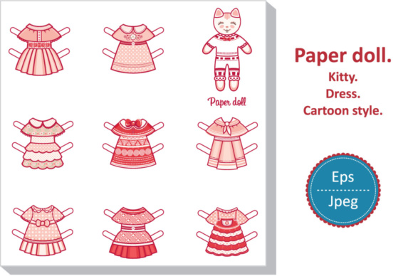 Print on Demand: Paper Doll. Kitten in Pink Dress Graphic Illustrations By zoyali