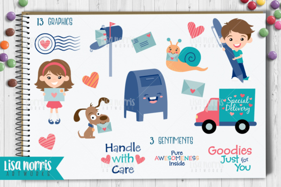 Pen Pals Clip Art Graphics & SVG Cutting Files Graphic By Lisa Norris Artworks Image 2