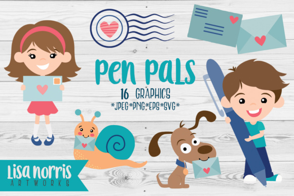 Pen Pals Clip Art Graphics & SVG Cutting Files Graphic By Lisa Norris Artworks Image 1