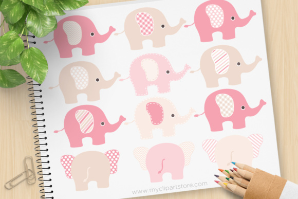 Print on Demand: Pink Brown Elephant Clipart Graphic Illustrations By MyClipArtStore