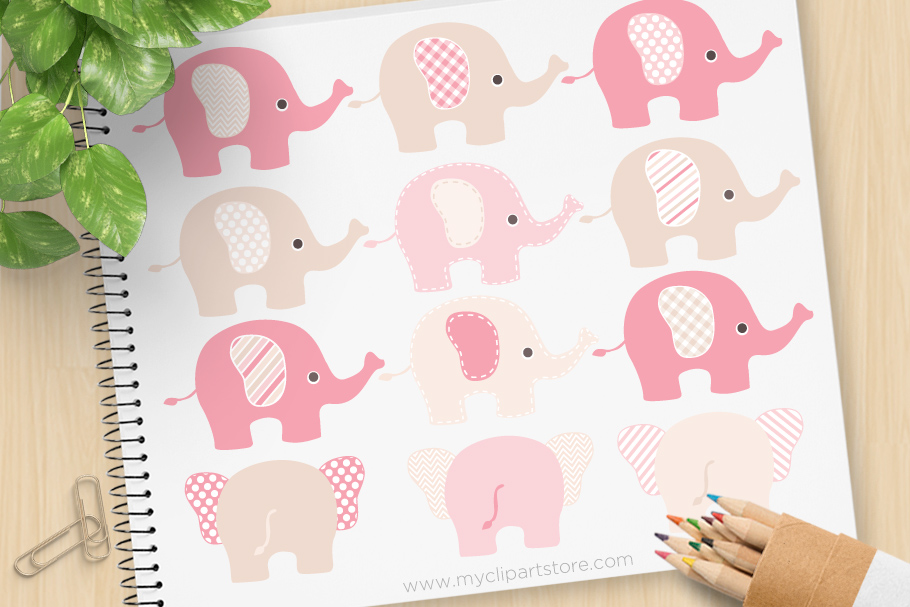 Download Free Pink Brown Elephant Clipart Graphic By Myclipartstore Creative for Cricut Explore, Silhouette and other cutting machines.