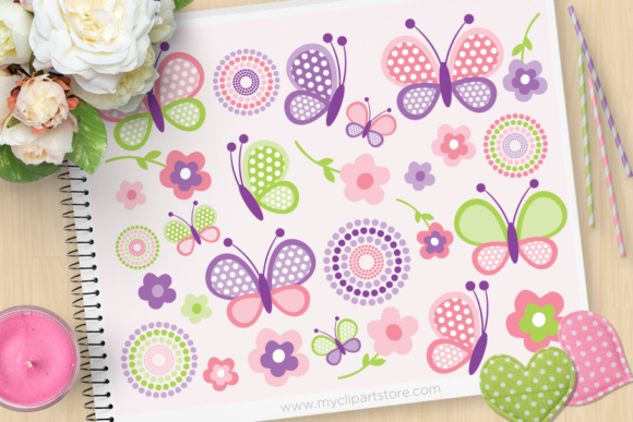 Print on Demand: Pink Butterflies Clipart Graphic Illustrations By MyClipArtStore