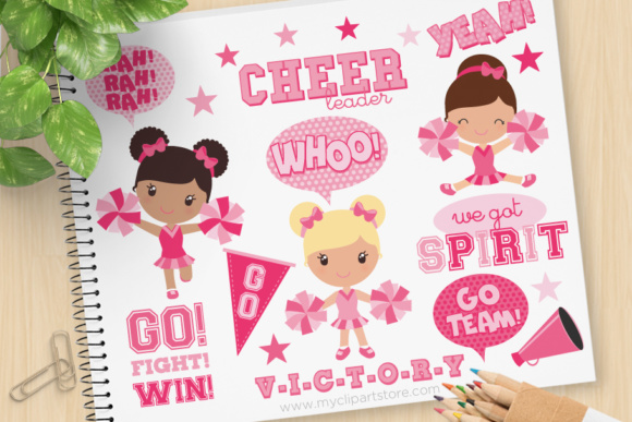 Print on Demand: Pink Cheerleaders Clipart Graphic Illustrations By MyClipArtStore