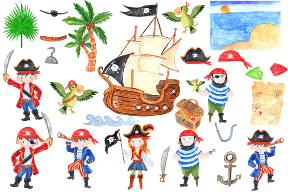 26 pirate themed kids clip
